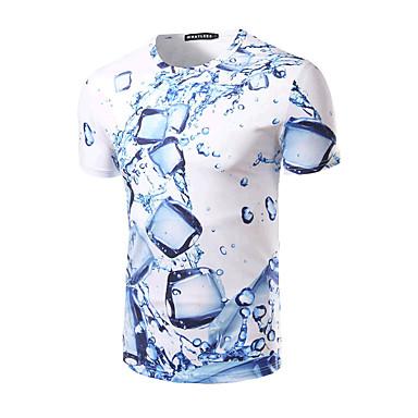 저렴한 남자 상의-남성용 기하학 라운드 넥 슬림 프린트 - 티셔츠, 베이직 스포츠 면 화이트 L / 짧은 소매 / 여름