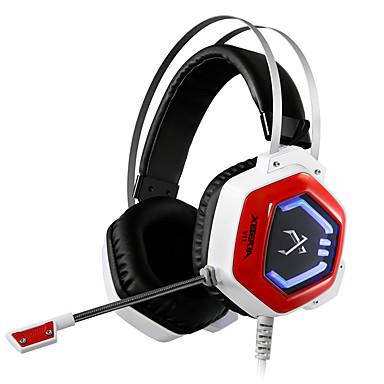 XIBERIA V11 فوق الأذن عقال سلكي Headphones ديناميكي بلاستيك الألعاب سماعة عزل الضوضاء مع ميكريفون مع التحكم في مستوى الصوت مضيء سماعة