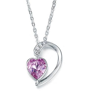 Riipus-kaulakorut Kristalli Heart Shape Sterling-hopea Perus Love Heart Eurooppalainen Korut Käyttötarkoitus Päivittäin Kausaliteetti