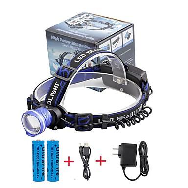 U'King Czołówki Reflektor LED 2000 lm 3 Tryb Cree XM-L T6 z bateriami i ładowarką Zoomable Alarm Regulacja promienia Niewielki rozmiar