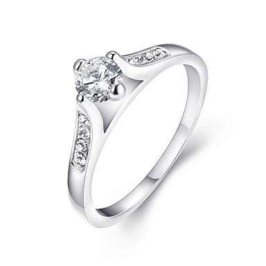 Damskie Pierscionek Klasyczny Cyrkonia Posrebrzany Round Shape Biżuteria Na Ślub Impreza Specjalne okazje Codzienny Casual
