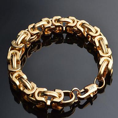 للرجال أساور السلسلة والوصلة موضة والمجوهرات مطلية بالذهب 18K الذهب Geometric Shape مجوهرات من أجل مناسبة خاصة عيد ميلاد هدايا عيد الميلاد