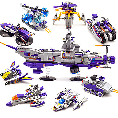 ENLIGHTEN Lego 683 pcs Transformabil Reparații Novelty Rezervor Navă Militară Portavion Aeronavă Băieți Cadou