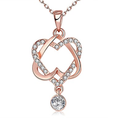 cheap Necklaces-Women's AAA Cubic Zirconia Pendant Necklace Chain Necklace Crossover Interwoven Necklace Flower Love Ladies Personalized Geometric Unique Design Zircon Rhinestone Rose Gold Plated Rose Gold Necklace