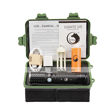 U'King Latarki LED LED 2000 lm 3 Tryb LED z baterią i adapterem Zoomable Regulacja promienia Akumulator Obóz/wycieczka/alpinizm