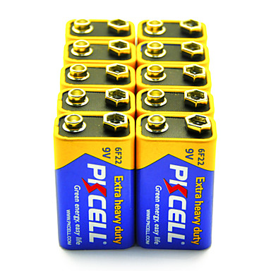 PKCELL 6F22 9V karbon çinko pil 10 paket ekstra ağır