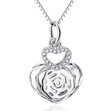 Kolye Uçları Som Gümüş imitasyon Pırlanta Basic Tasarım Kalp Gümüş Mücevher Günlük 1pc
