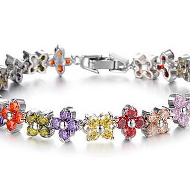 Zincir & Halka Bileklikler Moda Zirkon Yapay Elmas Mücevher Gökküşağı Mücevher Için Doğumgünü Yılbaşı Hediyeleri 1pc
