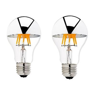 6W B22 E26/E27 Żarówka dekoracyjna LED G60 6 COB 600 lm Ciepła biel Ściemniana AC 220-240 AC 110-130 V 2 sztuki