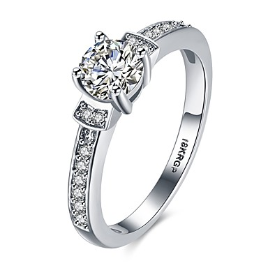 Δαχτυλίδι Πολυτέλεια Love Καρδιά Ζιρκονίτης Χαλκός Επάργυρο Προσομειωμένο διαμάντι Τέσσερα δόντια Κοσμήματα Γάμου Αρραβώνας Καθημερινά