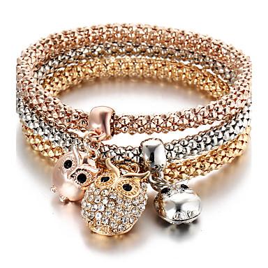 Damskie Bransoletki z breloczkami Spersonalizowane Wielowarstwowy Turecki Słodkie Style Modny Kryształ górski Sowa Zwierzę Biżuteria