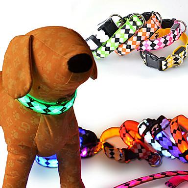 كلب ياقة أضواء LED قابل للسحبقابل للتعديل عاكس الأمان ضوء صاعق Plaid/Check هندسي كارتون بلاستيك نايلون أصفر أحمر أخضر أزرق زهري