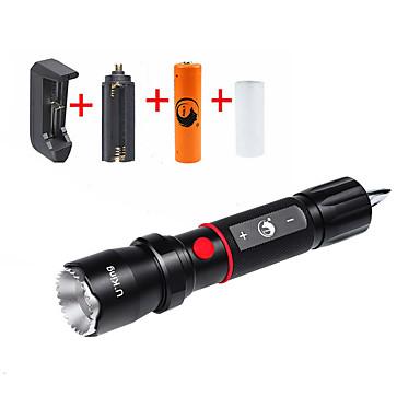 U'King LED taskulamput LED 2000 lm 5 Tila Cree XM-L T6 Akulla ja laturilla Zoomable Säädettävä fokus Isku viiste
