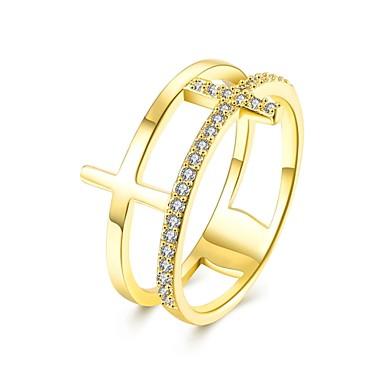 عصابة حزب يوميا فضفاض مجوهرات زركون نحاس مطلية بالذهب مطلي بذهب وردي خاتم 1PC,6 7 8 ذهبي روزي ذهبي أصفر