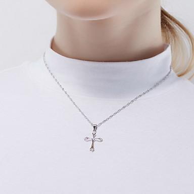 قلائد الحلي كريستال Cross Shape فضة الاسترليني تصميم بسيط موديل الزينة المعلقة مجوهرات من أجل يوميا فضفاض