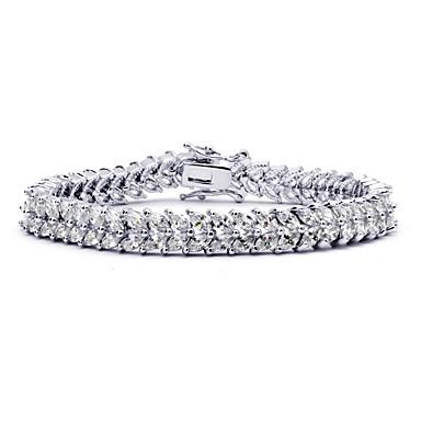 Γυναικεία Βραχιόλια με Αλυσίδα & Κούμπωμα Κρυστάλλινο Φύση Μοντέρνα Κρύσταλλο Ζιρκονίτης Cubic Zirconia Κράμα Round Shape Κοσμήματα Για
