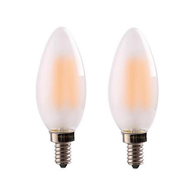 ONDENN 2pcs 4W 300-350 lm E14 E12 Żarówka dekoracyjna LED CA35 4 Diody lED COB Przysłonięcia Ciepła biel AC 220-240V AC 110-130V