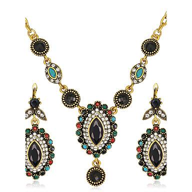 Zestawy biżuterii Syntetyczne kamienie szlachetne Żywica Kryształ górski Pozłacane Imitacja diamentu Stop Owalny Luksusowy Vintage