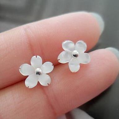Kadın Vidali Küpeler Mücevher Çiçek Çiçek Stili Çiçekler Moda Elyapımı Som Gümüş Flower Shape Mücevher Uyumluluk Günlük Spor