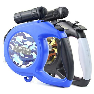 Köpek Tasma Kayışı LED Işıklar Ayarlanabilir / İçeri Çekilebilir Otomatik Video Sistemi kamuflaj Naylon Siyah Mavi