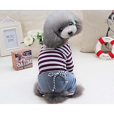Câine Tricou Îmbrăcăminte Câini Dungi Rosu Albastru Bumbac Costume Pentru animale de companie Vară Bărbați Pentru femei Draguț Casul /