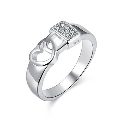 Γυναικεία Δαχτυλίδι Cubic Zirconia Ασημί Ζιρκονίτης Χαλκός Επάργυρο Ακανόνιστος Εξατομικευόμενο Geometric Μοναδικό Βίντατζ Τεχνητό