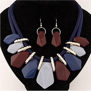 للمرأة مجموعة مجوهرات أقراط القلائد - ترف euramerican في أوروبي Geometric Shape البيج رمادي دارك كوفي التقزح اللوني أزرق مجموعة مجوهرات