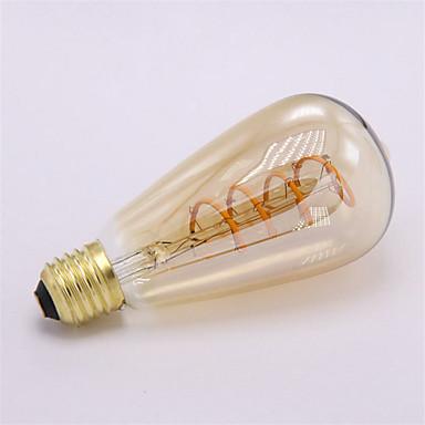 1pc 3W 300-350 lm E26/E27 LED Filaman Ampuller ST64 1 led COB Dekorotif Sıcak Beyaz 220V-240V