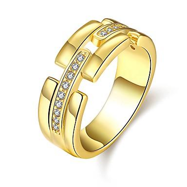 Naisten Sormus Cubic Zirkonia Kulta Hopea Ruusu Ruusukulta Zirkoni Kupari Hopeoitu Gold Plated Ruusukulta-päällystetty Pyöreä