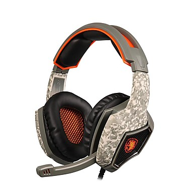 SA-918 فوق الأذن عقال سلكي Headphones ديناميكي بلاستيك الألعاب سماعة عزل الضوضاء مع ميكريفون مع التحكم في مستوى الصوت مضيء سماعة