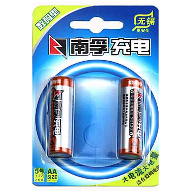 Nanfu aa nikel metal hidrit şarj edilebilir pil 1.2 v 2400mah 2 paket