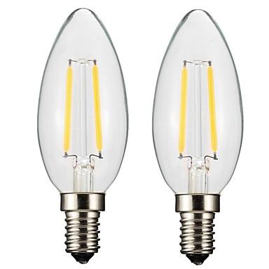 ONDENN 2pcs 2 W 150-200 lm E14 E12 LED Λάμπες Πυράκτωσης CA35 2 leds COB Με ροοστάτη Θερμό Λευκό AC 220-240V AC 110-130V
