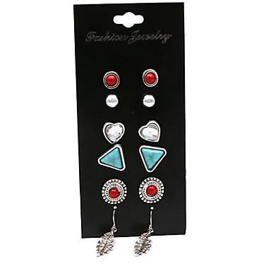 Cercei Stud Vintage Euramerican Aliaj Heart Shape Geometric Shape Argintiu Bijuterii Pentru Petrecere Zilnic 1set