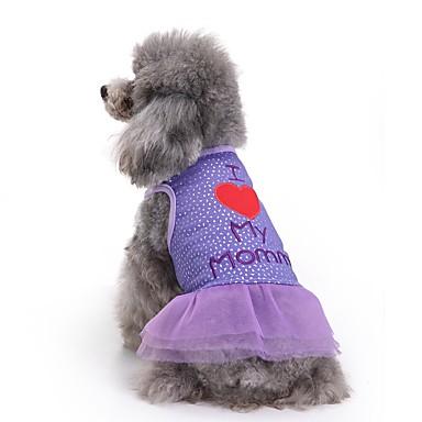 Γάτες Σκυλιά Φορέματα Ρούχα για σκύλους Καλοκαίρι Γράμμα & Αριθμός Cute Μοντέρνα Καθημερινά Βυσσινί