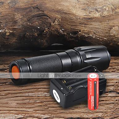 UltraFire W-878 LED Fenerler LED 1800 lm 5 Işıtma Modu Piller ve Şarj Aleti ile Ayarlanabilir Fokus Kamp / Yürüyüş / Mağaracılık / Günlük Kullanım / Çalışma Siyah