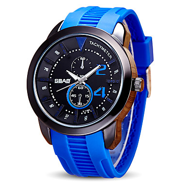 Erkek Spor Saat Bilek Saati Quartz Silikon Bant Günlük Siyah Mavi Kırmızı Turuncu Yeşil Sarı Donanma Koyu Mavi Sarı Kırmzı Yeşil Mavi