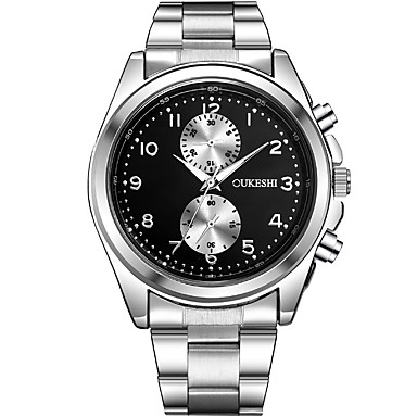 Erkek Elbise Saat Moda Saat Gündelik Saatler Çince Quartz Paslanmaz Çelik Bant Havalı Günlük Gümüş Beyaz Siyah