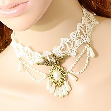 Kadın's Gerdanlıklar Oval Shape Crown Shape Dantel Moda Türkçe Klasik Beyaz Mücevher Için Düğün Parti Özel Anlar Doğumgünü Nişan 1pc