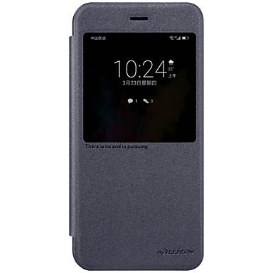 Için Pencereli Oto Uyu/Uyan Flip Buzlu Pouzdro Tam Kaplama Pouzdro Solid Renkli Sert PU Deri için Huawei Huawei Honor V9