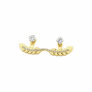 Vidali Küpeler Yapay Elmas Moda Kişiselleştirilmiş Euramerican alaşım Leaf Shape Altın Mücevher Için Günlük 1 çift