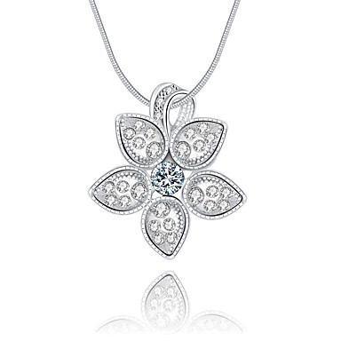 Γυναικεία Λουλούδι Πολυτέλεια Μοναδικό Λογότυπο Κρεμαστό Κρεμαστά Κολιέ Κρυστάλλινο Ασήμι Στερλίνας Κρύσταλλο Προσομειωμένο διαμάντι