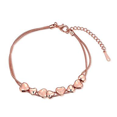 Damskie Dla dziewczynek Bransoletki i łańcuszki na rękę Kryształ Przyjaźń Modny Postarzane Pokryte różowym złotem Heart Shape Biżuteria Na