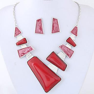 Γυναικεία Κοσμήματα Σετ 1 Κολιέ / 1 Ζευγάρι σκουλαρίκια - Euramerican / Μοντέρνα Geometric Shape Κόκκινο / Μπλε Σετ Κοσμημάτων Για Πάρτι