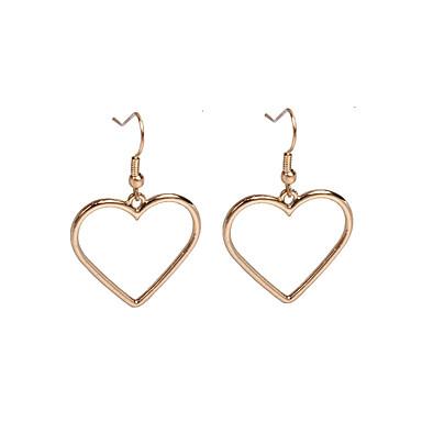 Mulheres Coração Brincos Compridos - Básico Amor Dourado Prata Forma Geométrica Coração Brincos Para Festa Diário Casual