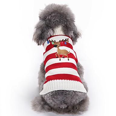Kedi Köpek Paltolar Kazaklar Köpek Giyimi Ren Geyiği Yeşil Pembe Akrilik Fiber Kostüm Evcil hayvanlar için Erkek Kadın's Sevimli Moda Noel