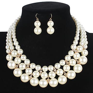 Γυναικεία Μαργαριτάρι Κοσμήματα Σετ 1 Κολιέ / 1 Ζευγάρι σκουλαρίκια - Euramerican Κυκλικό Λευκό Σετ Κοσμημάτων Για Γάμου / Πάρτι / Ειδική