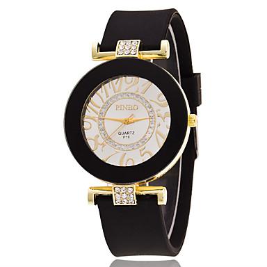 Bayanların Spor Saat Elbise Saat Moda Saat Bilek Saati Sahte Elmas Saat Quartz Büyük Kadran Silikon Bant İhtişam Çok-RenkliSiyah Sarı