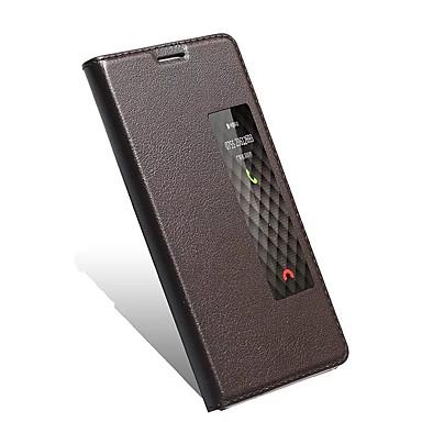 Pouzdro Uyumluluk Huawei Satandlı Pencereli Oto Uyu / Uyan Flip Tam Kaplama Kılıf Tek Renk Sert Gerçek Deri için Mate 9 Mate 9 Pro Huawei