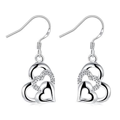 Damskie Kolczyki wiszące Kryształ Modny Posrebrzany Serce Biżuteria Ślub Impreza Codzienny Casual