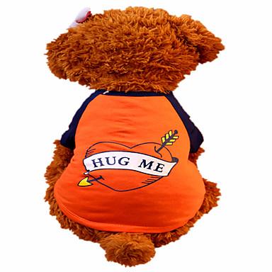 كلب T-skjorte ملابس الكلاب قلب برتقالي قطن كوستيوم للحيوانات الأليفة للرجال للمرأة موضة